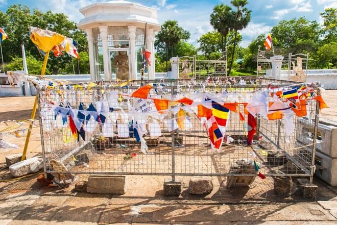 Prayer flags in Ruvanvalisaya, Maha Thupa, at Anuradhapura